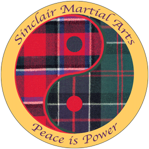 Sinclair Martial Arts logo: A yin-yang symbol with a red formal Sinclair tartan on the Yang side and the green hunting tartan on the yin side. Around the outside are the words,